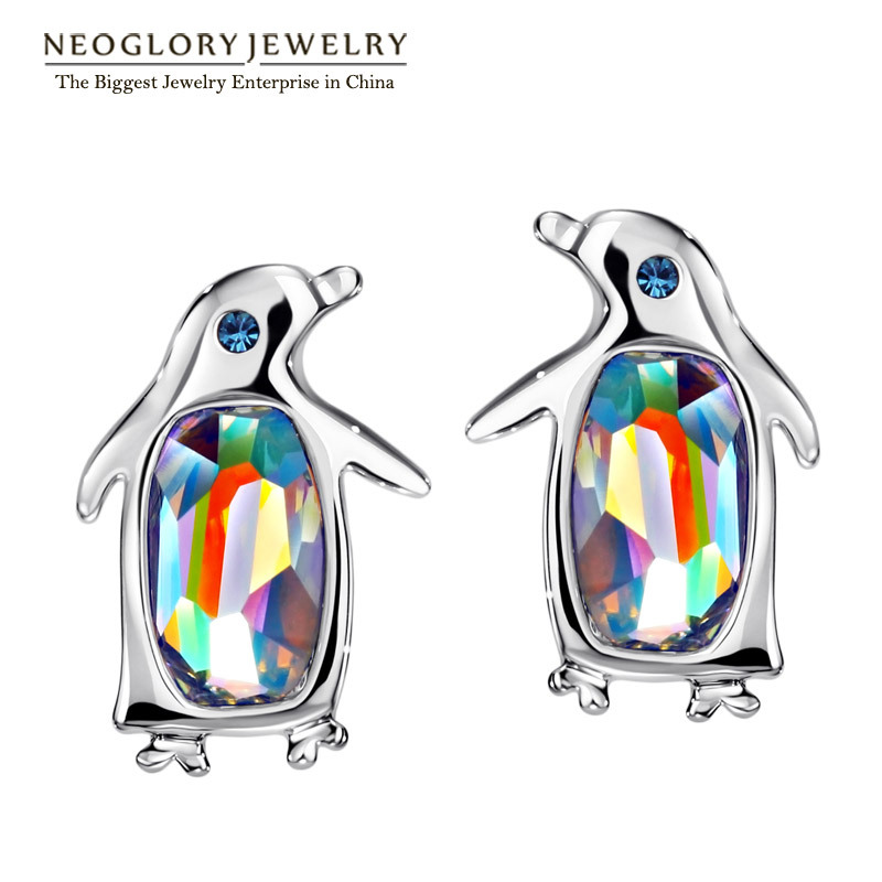 Neoglory, австрийские кристаллы и стразы, милые пингвины, серьги-гвоздики для женщин, для девочек-подростков, Модный Ювелирный камень, подарок, новинка - Окраска металла: pic color