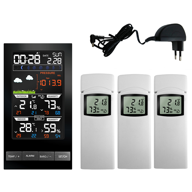 3 Outdoor Sensors Wireless Weather Station Temperature Hygrometer LCD Display mm Hg Barometer Weather Forecast Clock