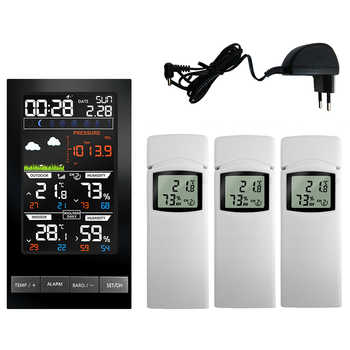 3 Outdoor Sensors Wireless Weather Station Temperature Hygrometer LCD Display mmHg Barometer Weather Forecast Clock Thermometer - DISCOUNT ITEM  41% OFF All Category