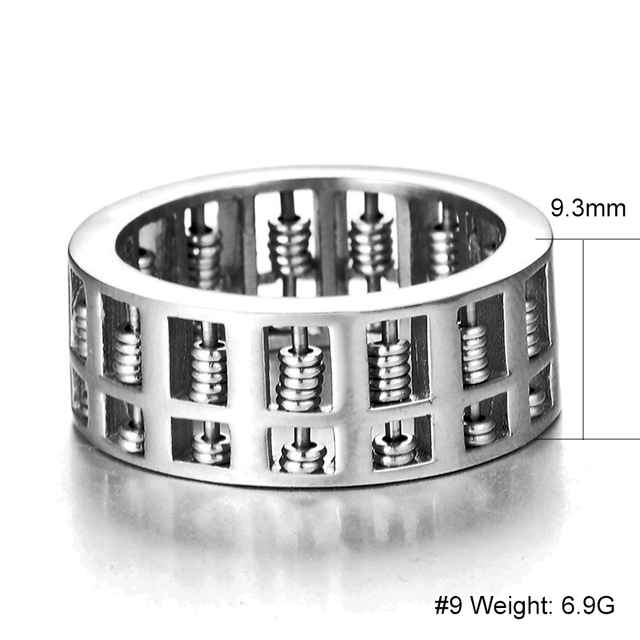 V-COOL Fashion Abacus Ring For Men Women High Quality Maths Number Jewelry Stainless Steel Charm Gift VR262