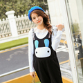 Cozy soft lithe Cotton Cute big head rabbit maternity clothes adjustable waist pregnant women bib capris overalls for women