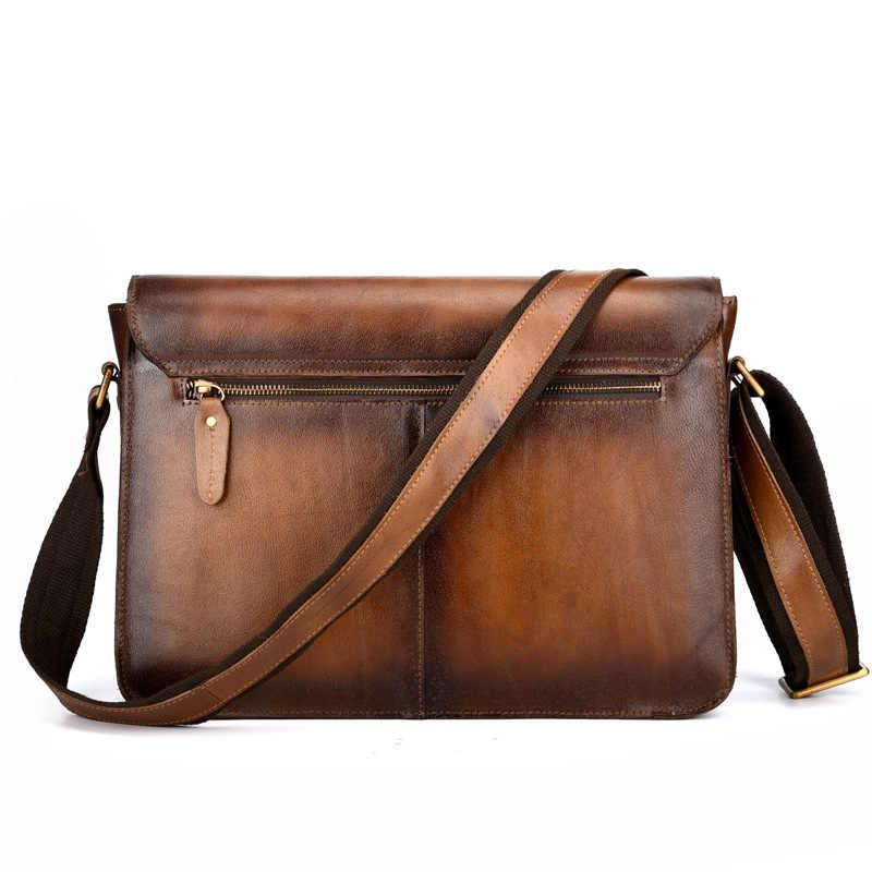 562020fc0824 ... Брендовая винтажная матовая Натуральная кожа ручной работы деловой  портфель мужская сумка через плечо сумка для ноутбука ...