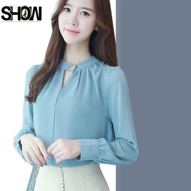25b9ab3b770805 Chiffon Blouses Shirts New Hot Korean Style Women Autumn Winter Basic Shirt  Elegant Office Lady Blouse