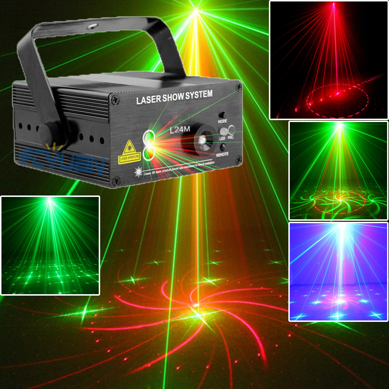 Mini Party Dance Lights Laser Projector Red Green Color 8 Patterns Remote Control Professional Stage Lighting