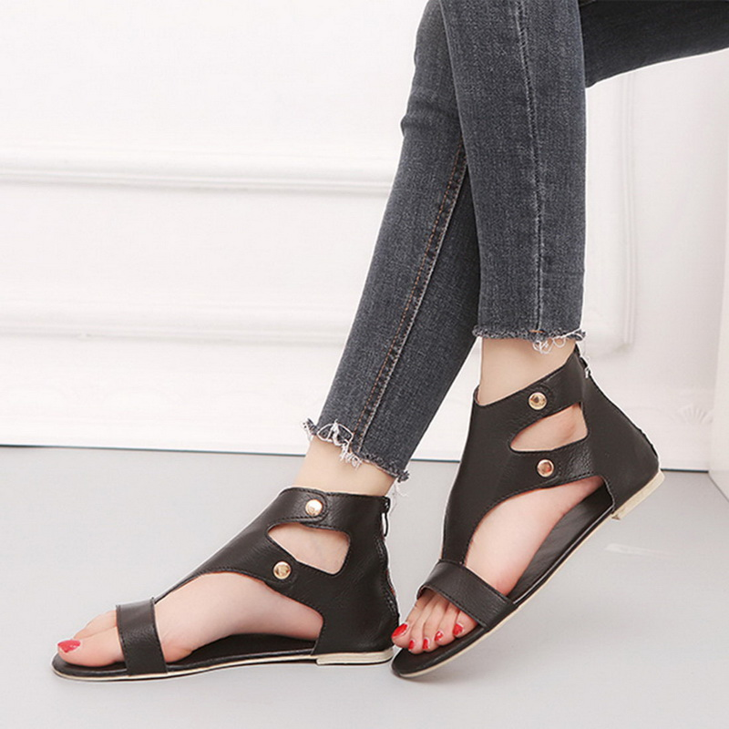 Summer Shoes Sandals Female Casual Women New-Fashion 35-42 Zip Soft Plus-Size