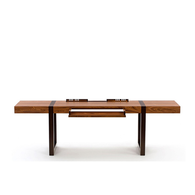 Wood Veneer Finishes Rack Large Office Desk Combination Modern Minimalist Designer Furniture