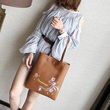 Fashion Korean Women Shoulder Bag PU Leather Flowers Printed Handbag Ladies Girls Casual Bags Big Capacity BS88