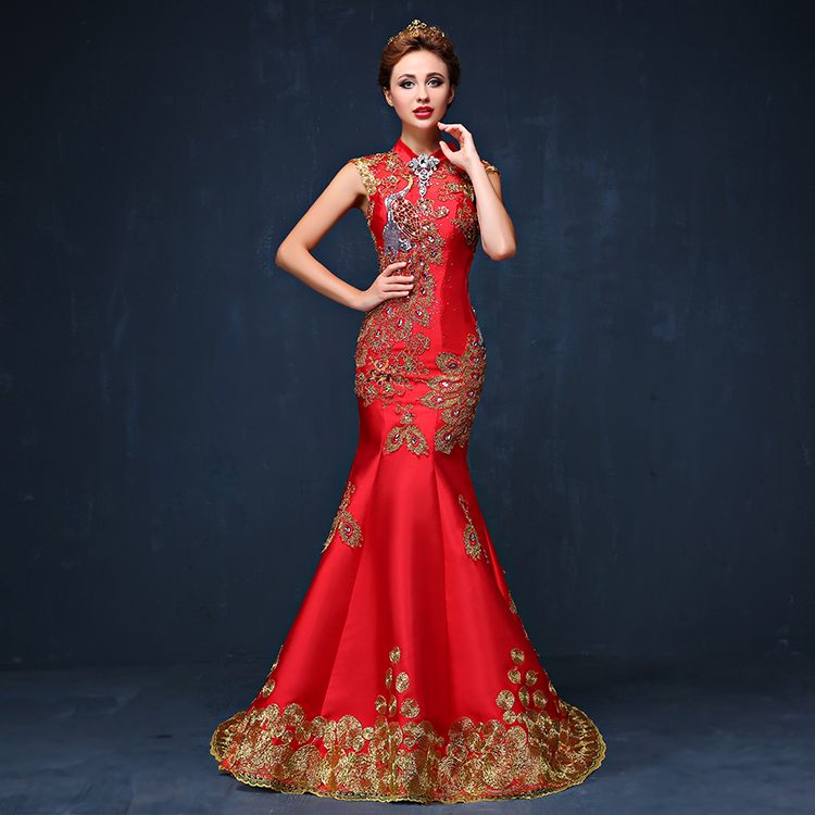 Image 2 - 2016 Luxury Red Embroidered Chinese Evening Dress Long Cheongsam Bride Wedding Qipao Mermaid Host Dresses Oriental Qi Pao-in Cheongsams from Novelty & Special Use