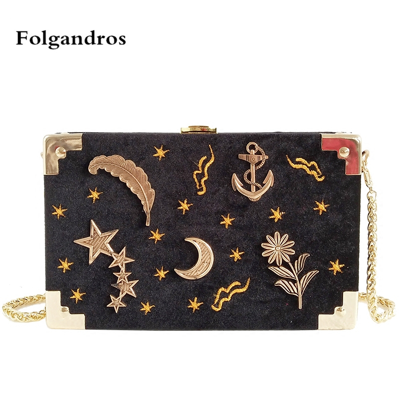 Velvet Flap Crossbody Bag for Women Star Moon Embroidery Shoulder Bags Female Long Gold Chain Messenger