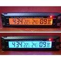 12 v 24 v 3 en 1 coche reloj termómetro auto voltímetro digital volt monitor de temperatura interior al aire libre lcd de orange/luz de fondo azul