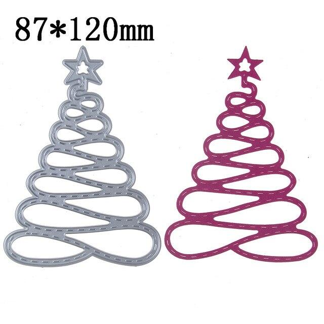 spiral christmas tree metal dies cutting decorative scrapbooking steel craft die cut create stamps embossing paper