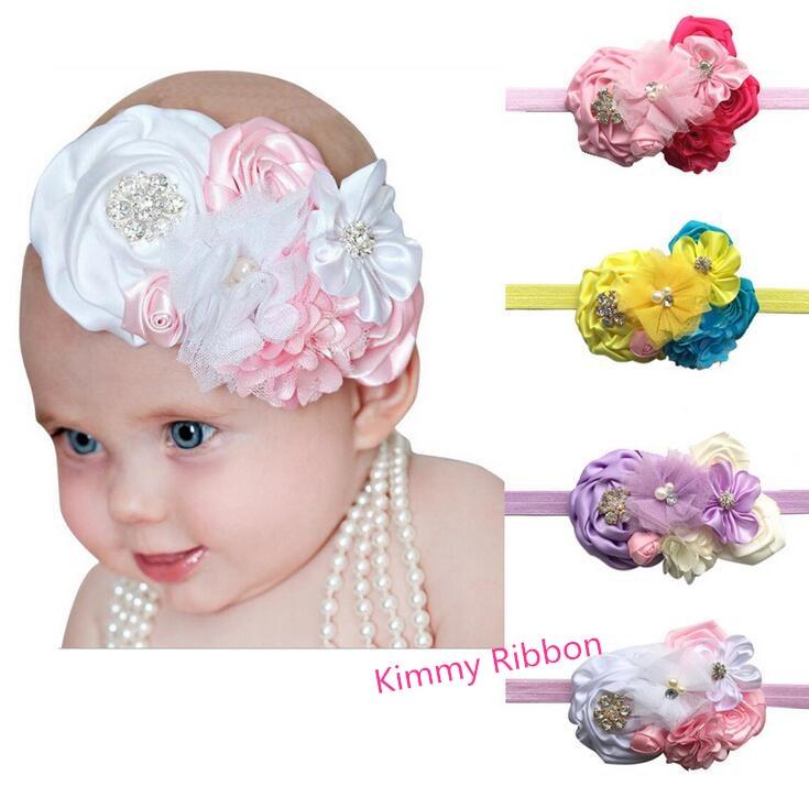 100ks dětská dívka luxusní luk Pearl Rose Flower čelenka do vlasů