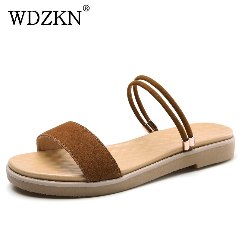 WDZKN New Arrival Flat Sandals Women Summer Slippers Casual Shoes Soft Comfortable Open Toe Cow Leather Women Sandals