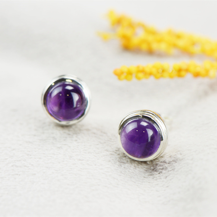 2018 Rushed Real Casual/sporty Brinco S925 Inlaid Amethyst Earrings Contracted Temperament Allergy Crystal Wholesale Fashion airborne pollen allergy