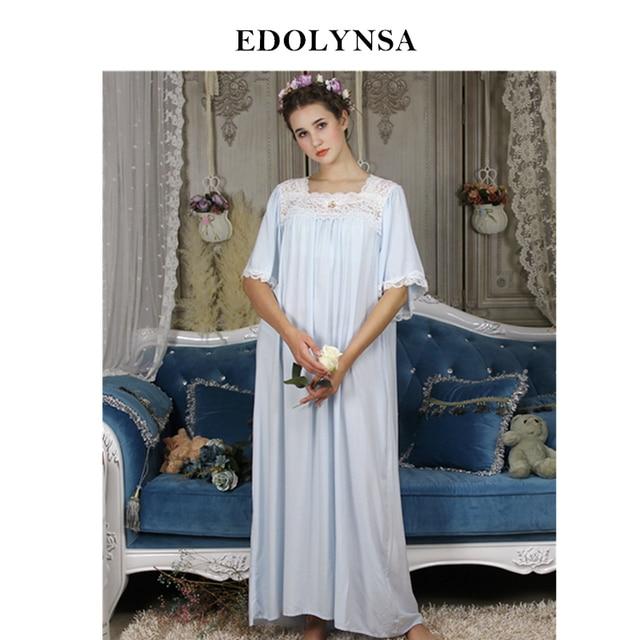 ec08444bf4 Vintage Nightgowns For Women Cotton Plus Size Robe Sleepwear Victorian  Square Collar Fashion Long Night Dress