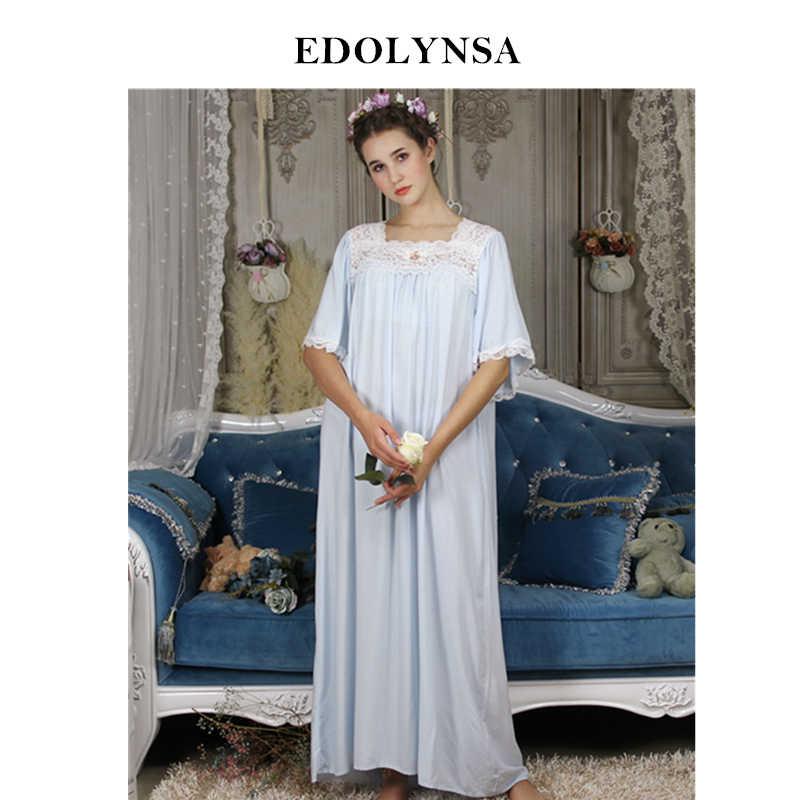 f166e66028 Vintage Nightgowns For Women Cotton Plus Size Robe Sleepwear Victorian Square  Collar Fashion Long Night Dress