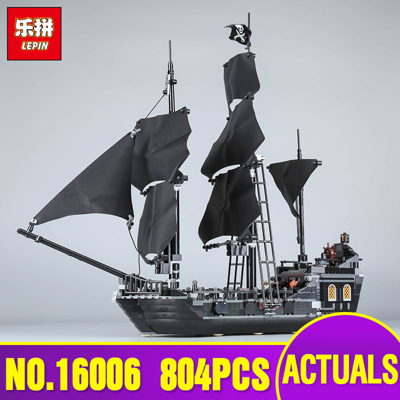 LEPIN 16006 804PCS Pirates of the Caribbean The Black Pearl Building Blocks Set legoing 4184 Funny Toy For Children Gift Bricks lepin 16009 the queen anne s revenge pirates of the caribbean building blocks set compatible with legoing 4195 for chidren gift