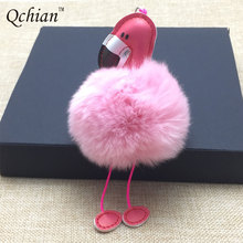 Fashion Women Bag Pink Flamingo Key Chain Ring Nice Purse Keychain Key Holder Charm Handbag Car Pendant Accessories Gift
