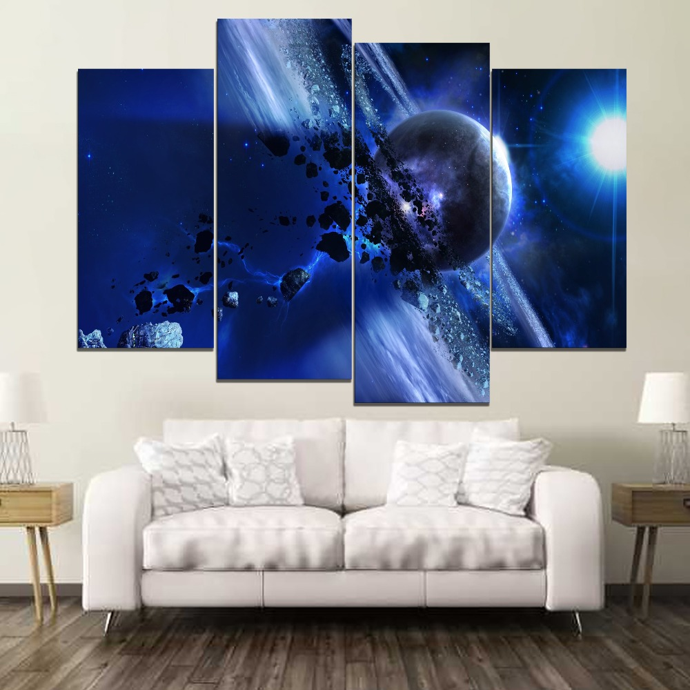 Saturn Gravity Planet Astronomy Painting 4 Piece Modular Style High Quality Canvas Print Type Decorative Wall Artwork Poster
