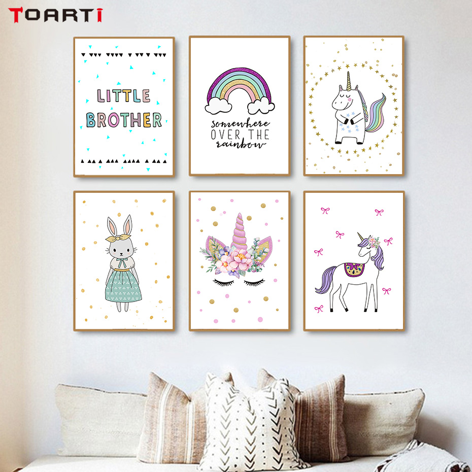 nordic cartoon animals posters and prints unicorn rabbit canvas painting wall art picture for. Black Bedroom Furniture Sets. Home Design Ideas