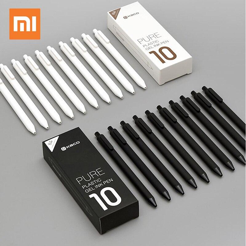 10 unids/lote Original Xiaomi KACO 0,5mm Xiomi Mi Signing P E N Gal tinta suave escritura duradera firma suministros de escritura negro recarga