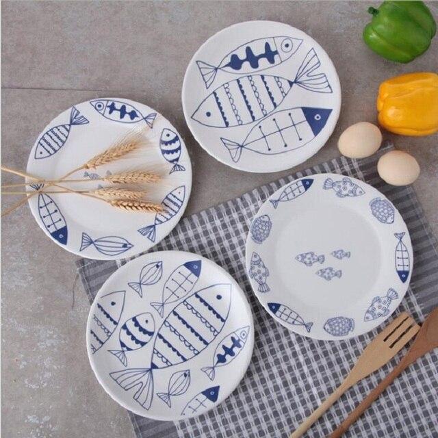teller fisch muster keramik platten 8 zoll geschirr porzellan flache platten gebck kuchen tablett party - Geschirr Muster