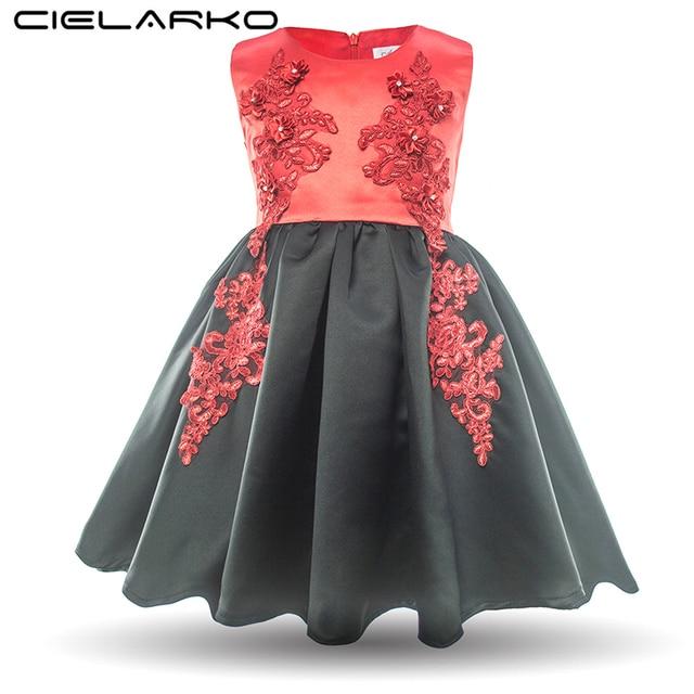 d251fad10b3 Cielarko Kids Girls Party Dress Baby Girl Formal Design Summer Wedding Prom  Dresses Children Fashion Red