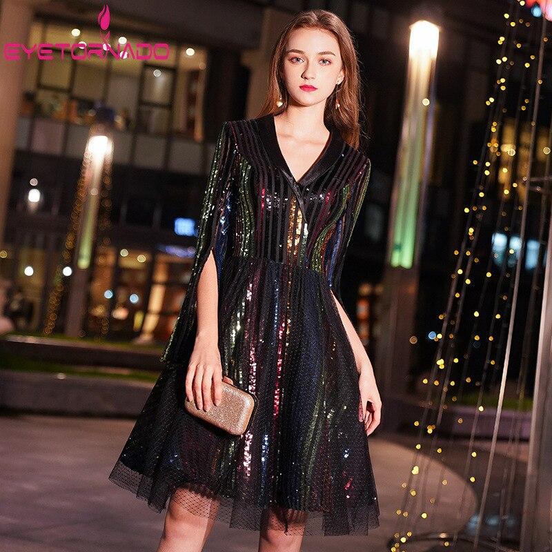 ผู้หญิง Party 2019 V คอ Luxury Seuiqned ตาข่าย Patchwork คนดังจัดเลี้ยงชุด Flare Sleeve Elegant Blazer ชุด-ใน ชุดเดรส จาก เสื้อผ้าสตรี บน   1