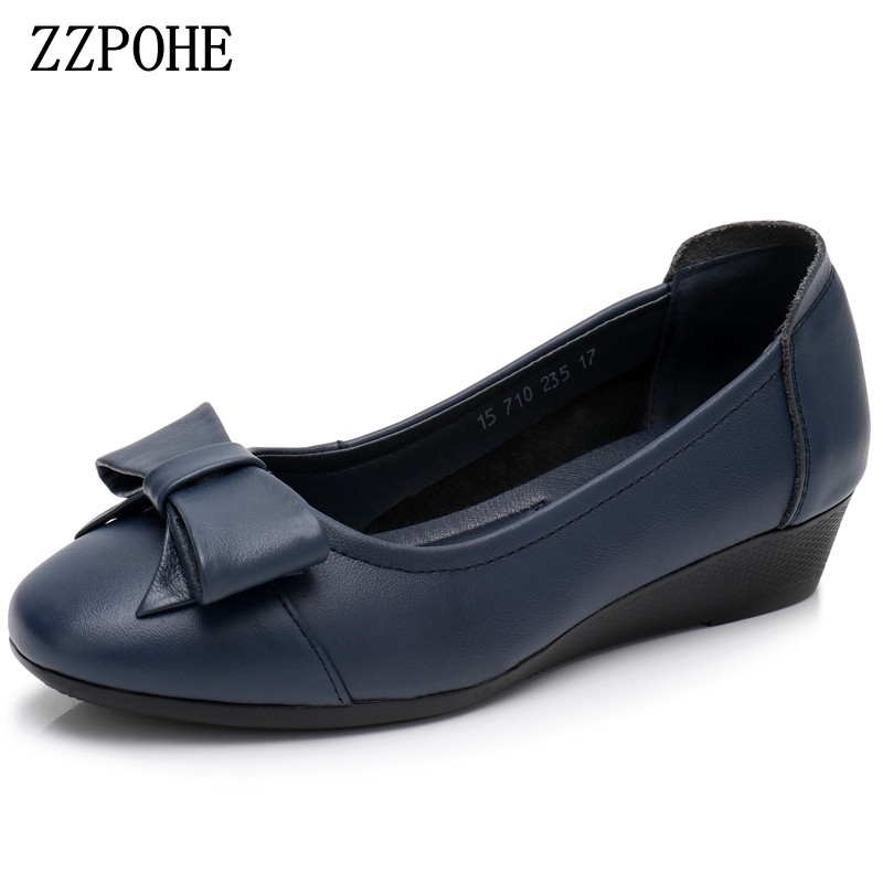 ZZPOHE Spring Autumn Women Flats Fashion Soft Leather Women Shoes Casual Nurse Work Shoes Woman Comfortable shoes 35-41 2017 summer new women fashion leather nurse teacher flats moccasins comfortable woman shoes cut outs leisure flat woman casual s