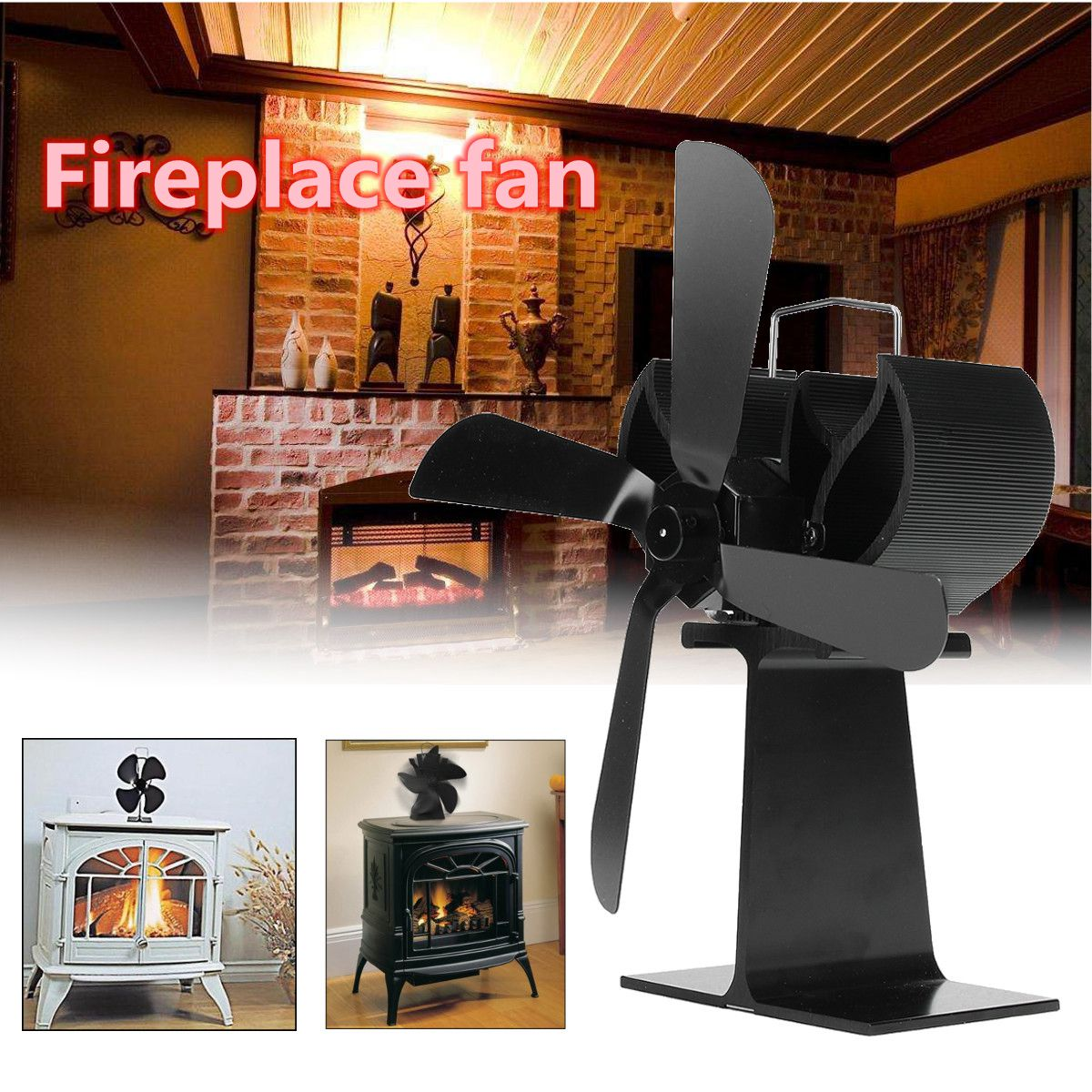 Quiet Stove Fireplace Fan Heat Powered 4 Blade For Wood Log Burner Eco Top Gift for Efficient Heat Distribution hot new wood stove eco fan heat powered 4 blade blade fireplace blower fan for efficient heat distribution