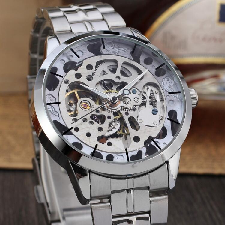 WINNER Men Fashion Skeleton Mechanical font b Watch b font Stainess Steel Clock Transparent font b