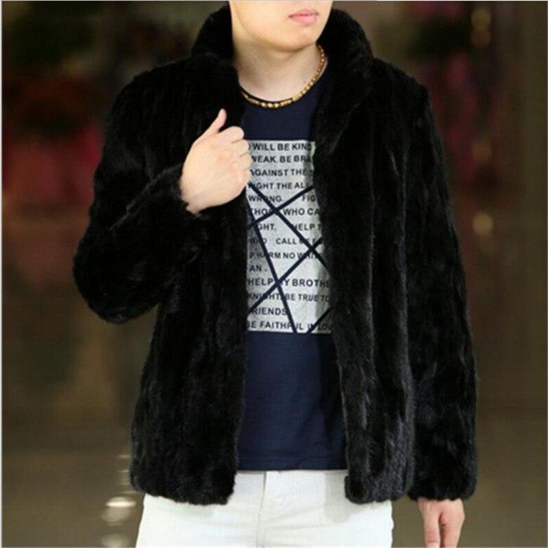 Men Faux Fur coat sexy black Man winter Soft warm jacket coat 2017 New Casual High grade Mink Hair Fur overcoat Plus Size S/3XL