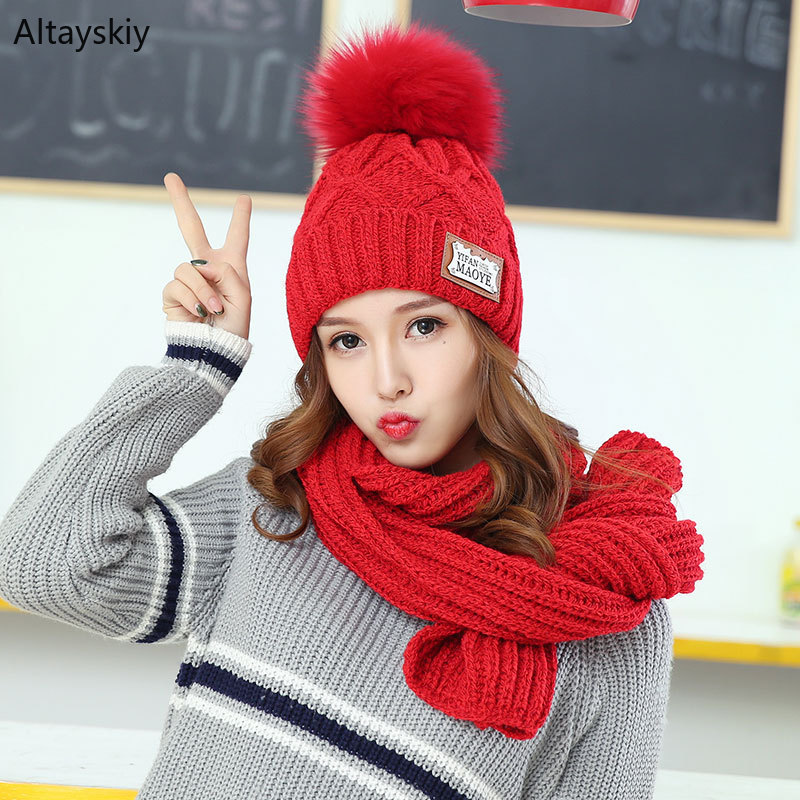 Scarf Hat Sets Women Winter Warm Thicker Knitted Solid Neck Protection Scarfs Hairball Womens Hats All-match Simple Chic Trendy