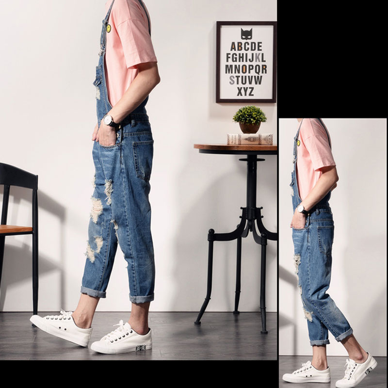 2019 New Mens Bib Overalls Fashion Ankle Length Denim Overalls Men Ripped Jeans Male Denim Jumpsuit Tooling trousers SIZE S 6XL in Jeans from Men 39 s Clothing