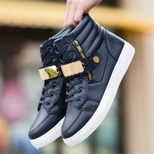 Trend 2018 Men's Vulcanized Shoes Black High Top Lace-up Autumn Winter Pu Canvas Shoes For Men Boys Sneakers Without Lace new