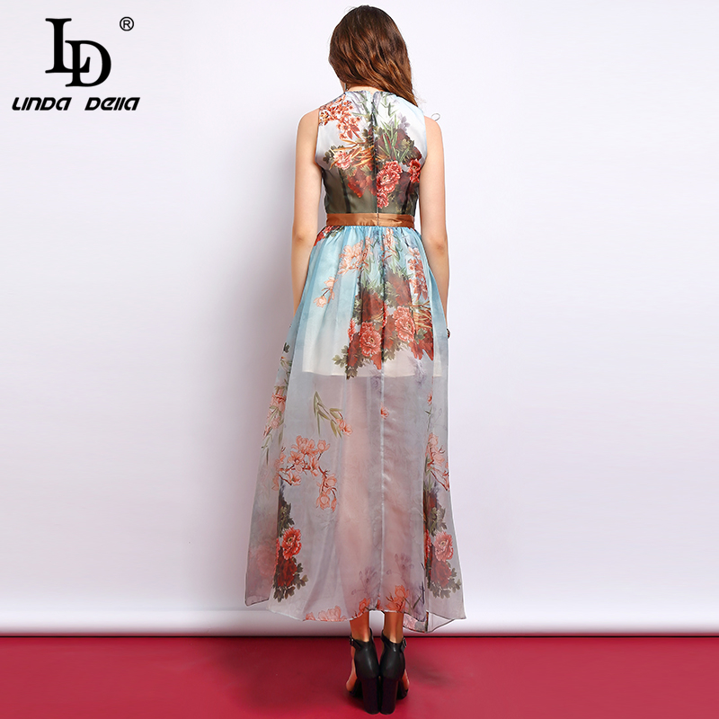 LD LINDA DELLA Fashion Summer Dress Women 39 s Sleeveless Side slit Mesh Overlay Floral Printed Elegant Vintage Ladies Party Dress in Dresses from Women 39 s Clothing