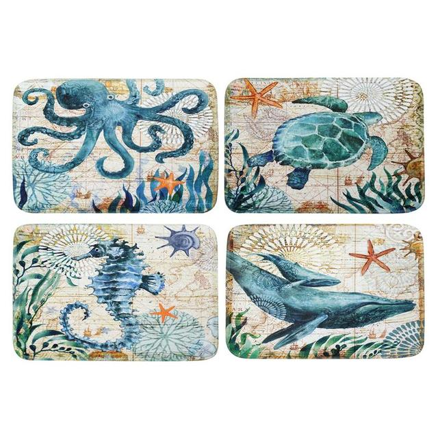 Cartoon Anti Slip Bath Rug Water Absorption Carpet Bedroom Door Mat Octopus Whale Seahorse