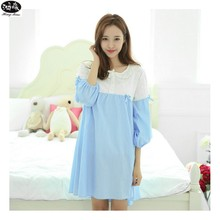 289d951088 New Pyjamas Korean Version Features Nightdress Women s Lace Bow Cotton  Seven Sleeve Nightgown Home Wear Nightshirt