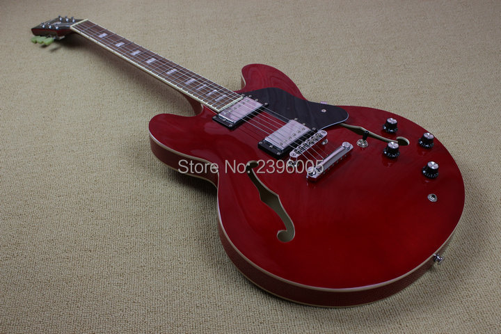 Hot Sale one piece guitar ES 335 hollow jazz electric guitar one piece neck 335 semi hollow body red color high quality free shipping rotten knobs tree wood archtop guitar hollow body 335 jazz electric guitar