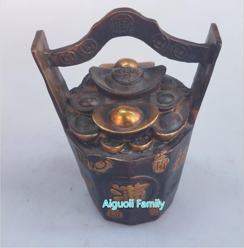 Un seau de lingots d'or métal artisanat plaqué or rouge cuivre statue Feng Shui maison laiton sculpture objets de collection décoratifs - 2