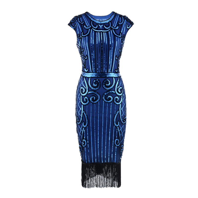 ac81875c92 Women 1920s Diamond Sequined Embellished Fringed Great Gatsby Flapper Dress  Retro Tassle Croche Party Dress Vestido