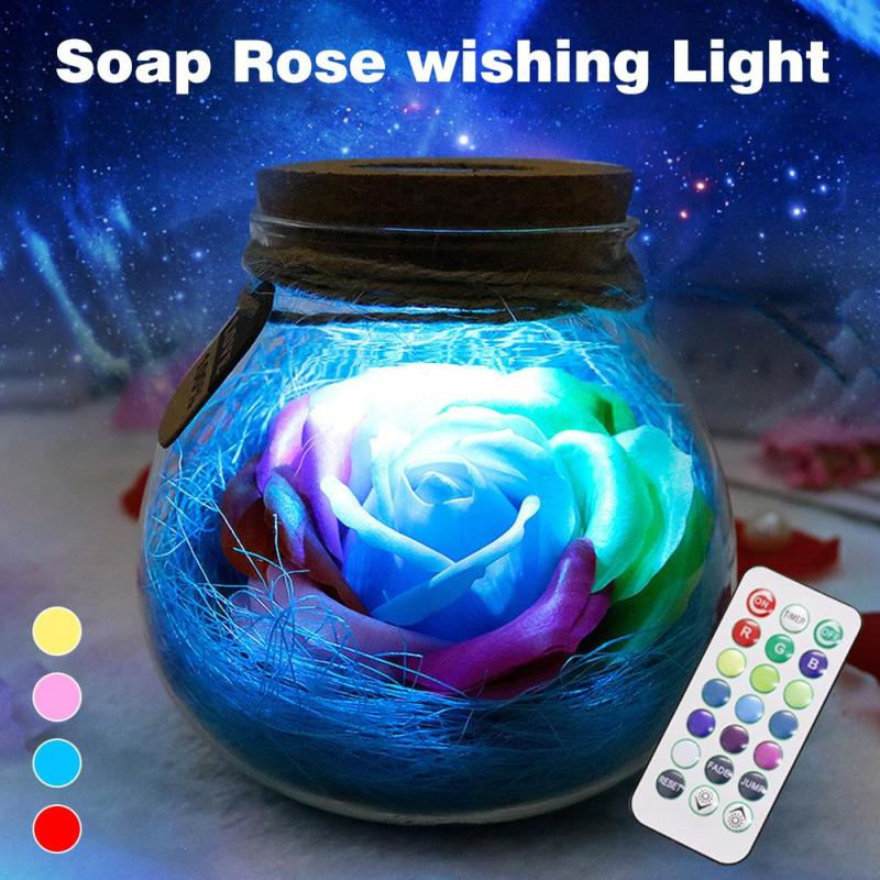 Remote Control Table Lamp Night Light Romantic Rose Perfumed Soap Rose Flower Light Creative Colorful Flashing 4 Colors Lamp Z50 led heart lights creative flashing light colorful plastic table lamp rechargeable color changing with remote control 4pcs lot