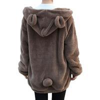 Nice Pop Sale Women Cute Sweatshirt Hoodies Zipper Girl Winter Loose Fluffy Bear Ear Hoodie Hooded Jacket Warm Outerwear Coat
