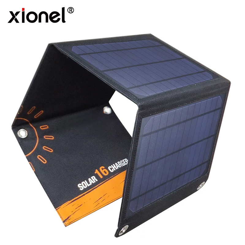 Xionel 5V 16W New Solar Panel Charger Power Bank for iPhone for Xiaomi Mobile Phone with Dual USB Port Solar Cell for Outdoor
