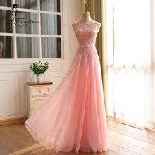 Real Image O Neck Chiffon Long Prom Dress Sexy Open Back Lace Vestido De Festa Sleeveless Evening Party Elegant 2016 New