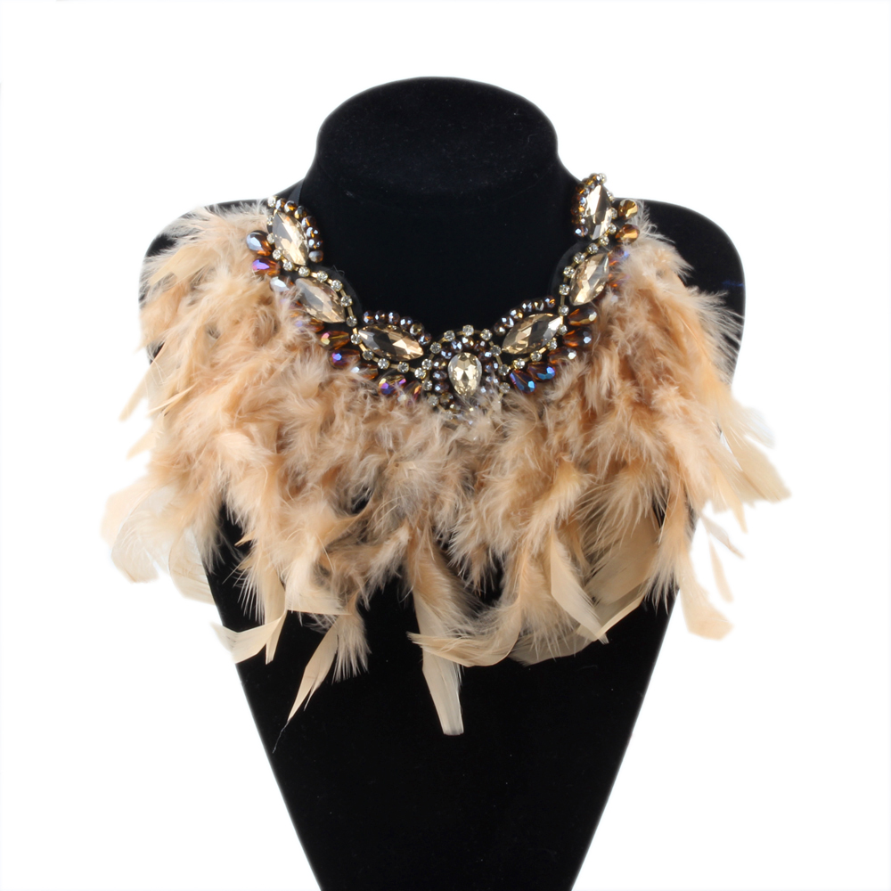 ZMZY Fashion New Bohemia Jewelry Exaggerate Feather Statement Crystal Collar Necklaces & Pendants Chokers Necklaces for Women