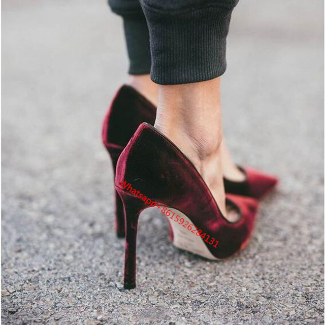 2cf73235f574 Plus Size 42 Red Black Burgundy Pointed Toe Stiletto Heels Party Wedding  Pumps 2019 Fashion Velet High Heels Bride Shoes Woman