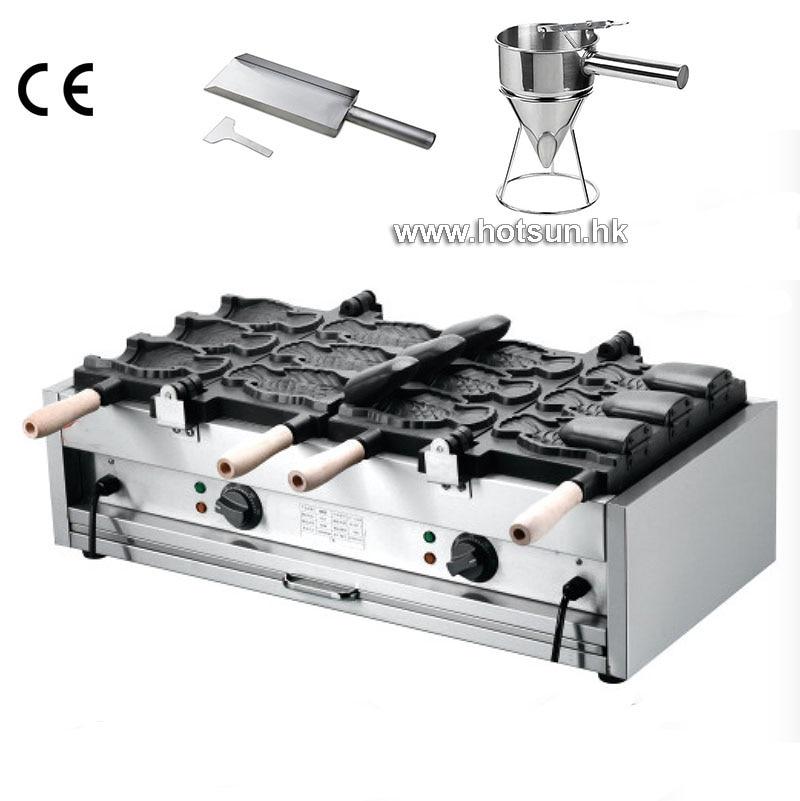6pcs Fish Waffles Commercial Non-stick Electric Icecream Taiyaki Baker Maker Machine + Batter Dispenser + Stuffing Scoop