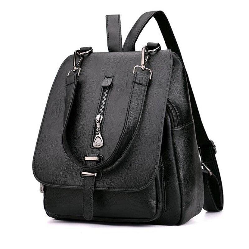 Для женщин Винтаж кожаный рюкзак дешевые подростковой Рюкзаки для Обувь для девочек Повседневное Сумка Женский Рюкзак Черный Mochila Школьные…