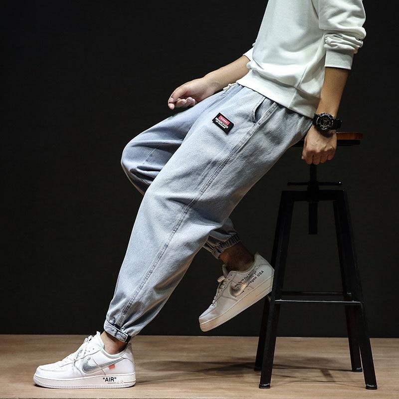 High Quality Men Light Blue Pants Pocket Cargo Fashion Jeans Harem Joggers Harajuku Sweatpant Hip Hop Trousers Plus Size M-5XL